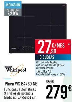 Oferta de Whirlpool Placa WS B4760 NE por 279€
