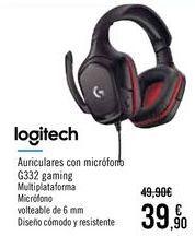 Oferta de LOGITECH Auriculares con micrófono G332 gaming por 39,9€