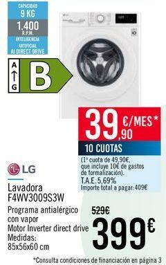 Oferta de LG Lavadora F4WV3009S3W por 399€