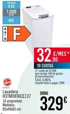 Oferta de Hoover Lavadora H3TM08TACE137 por 329€