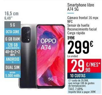Oferta de Smartphone libre A74 5G  por 299€