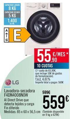 Oferta de LG Lavadora-secadora F4DN4008NOW por 559€