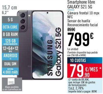 Oferta de Smartphone libre GALAXY S21 5G por 799€
