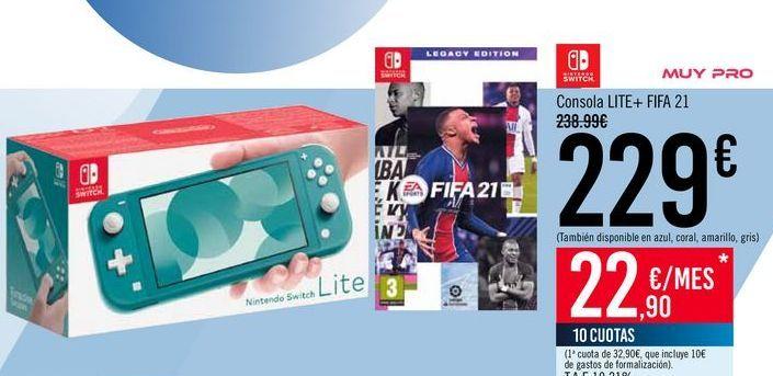Oferta de NINTENDO SWITCH Consola LITE + FIFA 21 por 229€