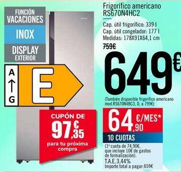 Oferta de Frigorífico americano RS670N4HC2 por 649€
