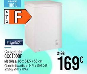 Oferta de FrigeluX Congelador CC0100BF por 169€