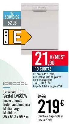 Oferta de ICECOOL Lavavajillas Vestel LV60EW por 219€