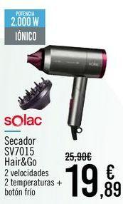 Oferta de SOLAC Secador SV7015 Hair&Go por 19,89€