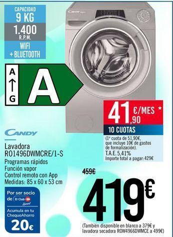 Oferta de CANDY Lavadora RO1496DWMCRE/1-S por 419€