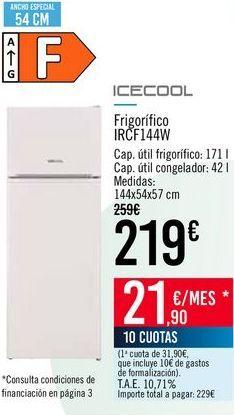 Oferta de ICECOOL Frigorífico IRCF144W por 219€