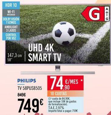 Oferta de PHLIPS TV 58PUS8505 por 749€