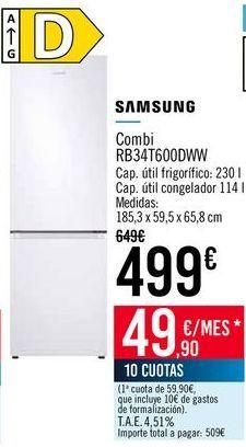 Oferta de SAMSUNG Combi RB34T600DWW por 499€