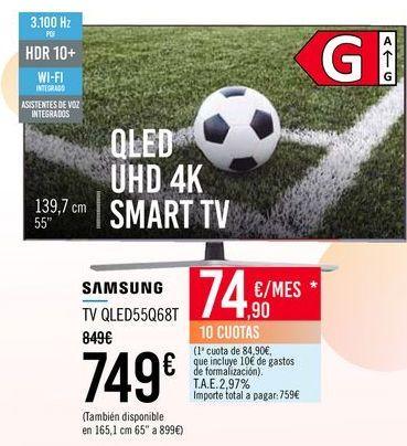 Oferta de SAMSUNG TV QLED55Q68T por 749€