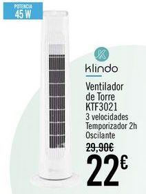 Oferta de Klindo Ventilador de Torre KTF3021 por 22€