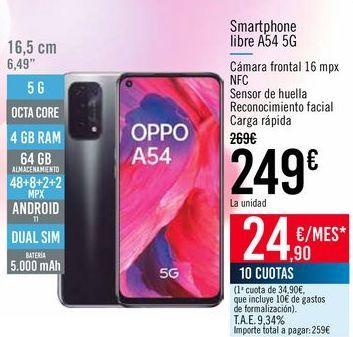 Oferta de Smartphone libre A54 5G por 249€