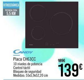 Oferta de CANDY Placa CH63CC por 139€