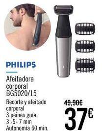 Oferta de PHILIPS Afeitadora corporal BG5020/15 por 37€