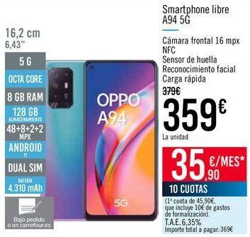 Oferta de Smartphone libre A94 5G por 359€