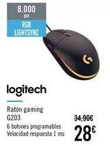 Oferta de LOGITECH Ratón gaming G203 por 28€