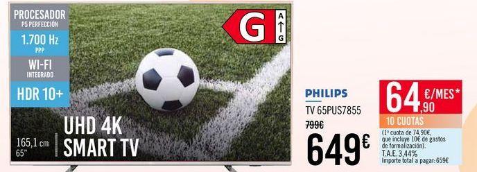 Oferta de PHILIPS TV 65PUS7855 por 649€