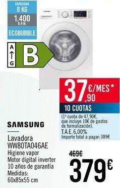 Oferta de SAMSUNG Lavadora WW80TA046AE por 379€