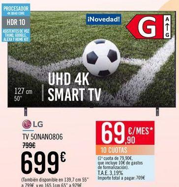 Oferta de LG TV 50NANO806 por 699€