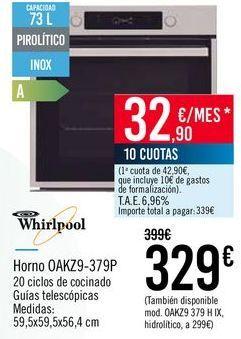 Oferta de Whirlpool Horno OAKZ9-379P por 329€