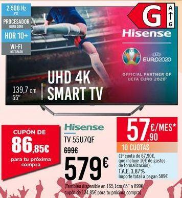 Oferta de Hisense TV 55U7QF por 579€