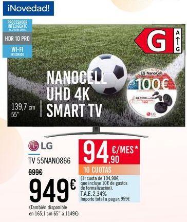 Oferta de LG TV 55NANO866 por 949€