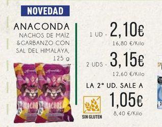 Oferta de Anaconda Nachos de maíz y garbanzo con sal de himalaya, 125 g. por 2,1€