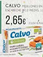 Oferta de Calvo mejillones en escabeche 8/12 piezas, 115 g, por 2,65€