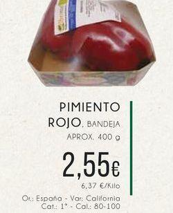 Oferta de Pimiento rojo, Bandeja aprox. 400 g. por 2,55€