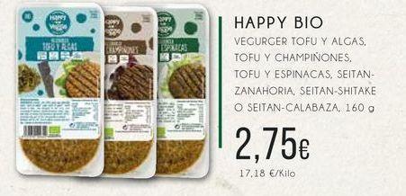 Oferta de Happy bio vergurver tofu y algas, tofu y champiñoñnes, tofu y espinacas, seitán-zanahoria, seitán-shitake o seitán-calabaza, 160 g. por 2,75€
