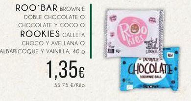 Oferta de Roo-bar brownie doble chocolate o chocolate y coco o Rookies galleta chco y avellana o alvaricoque y vainilla, 40 g. por 1,35€