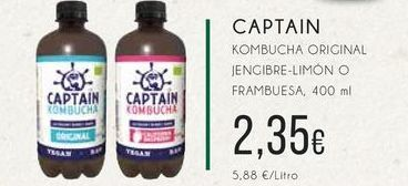 Oferta de Captain Kombucha original jenjibre-limón o frambuesa, 400 ml por 2,35€