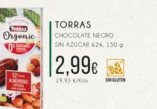 Oferta de Torras chocolate negro  sin azucar 62 %, 150 g. por 2,99€