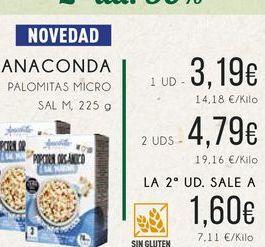 Oferta de Anaconda. Palomitas micro sal m, 225 g. por 3,19€