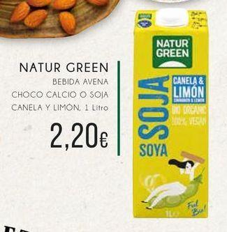 Oferta de  Naturgreen bebida de avena choco calcio o soja, canela y limón, 1 litro  por 2,2€