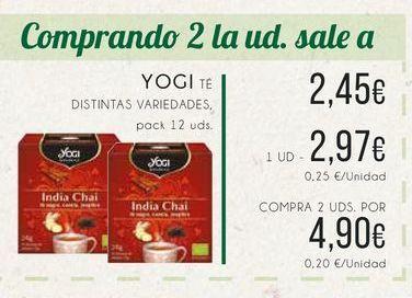Oferta de Yogi Tea. Distintas variedades, pack 12 uds. por 2,97€