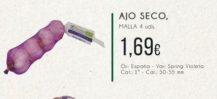 Oferta de Ajo seco, Malla 4 uds. por 1,69€
