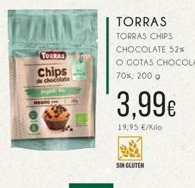 Oferta de Torras Chips chocolate 52 % o gotas chocolate, 70 %,200 g por 3,99€