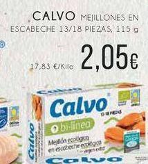 Oferta de Calvo mejillones en escabeche 13/18 piexas, 115 g por 2,05€