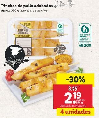 Oferta de Pinchos de pollo por 2,19€