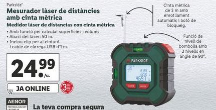 Oferta de Cinta métrica Parkside por 24,99€