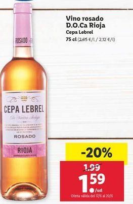Oferta de Vino rosado Cepa Lebrel por 1,59€