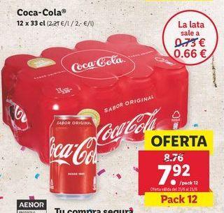 Oferta de Refresco de cola Coca-Cola por 7,92€