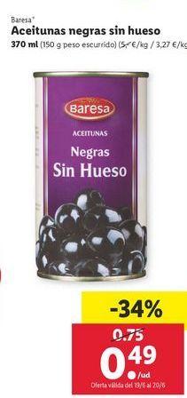 Oferta de Aceitunas negras Baresa por 0,49€