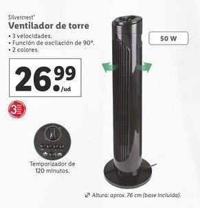 Oferta de Ventilador torre SilverCrest por 26,99€