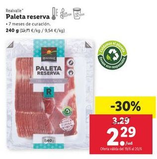 Oferta de Paleta de cerdo Realvalle por 2,29€