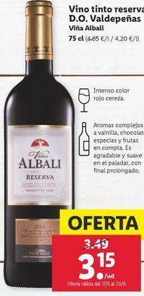 Oferta de Vino tinto Viña Albali por 3,15€